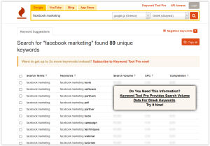 Facebook Marketing Keyword Tool