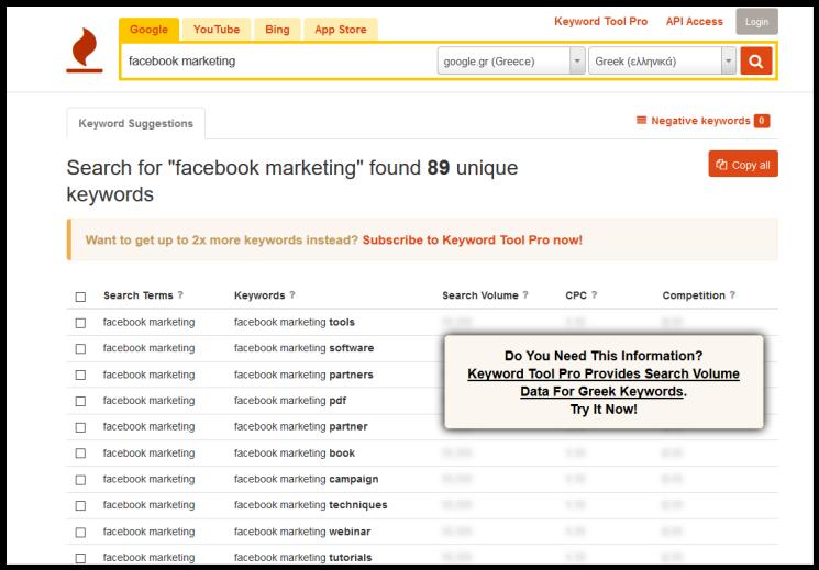 Facebook Marketing Keyword Tool