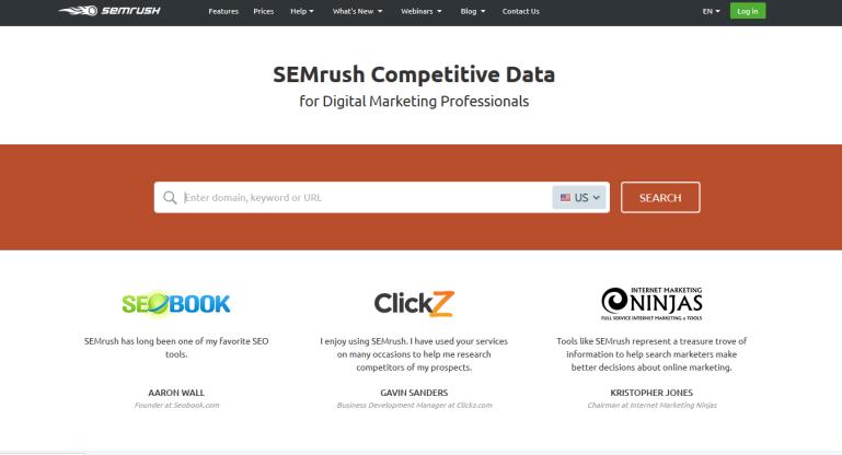 SEMrush Competitive Data for Digital Marketing Professionals